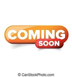 Coming soon vector button orange