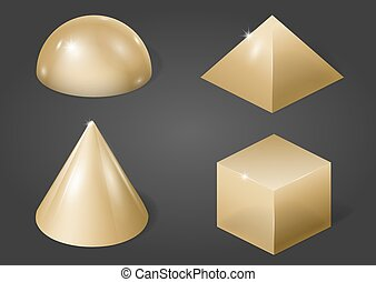 Gold metal forms - Set of different gold metal shapes....