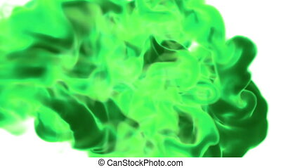 Abstract background of green fume or green ink with alpha mask. Use it for background, transition or overlays. 3d motion graphics element VFX ink or smoke. Version 12