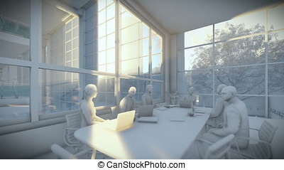 Business team silhouettes meeting, office building, tilt, 3d clay render