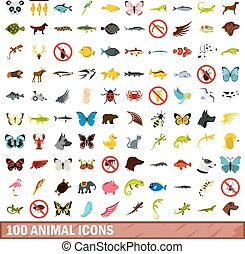100 animal icons set, flat style - 100 animal icons set in...