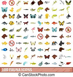 100 fauna icons set, flat style - 100 fauna icons set in...