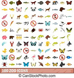 100 zoo icons set, flat style - 100 zoo icons set in flat...