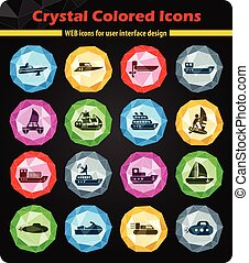 water transport icon set - water transport web icons for...