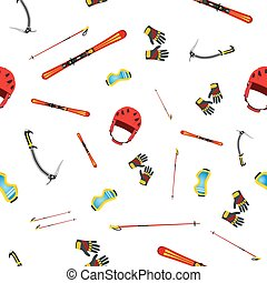 Seamless pattern of equipment for skiing, snowboarding, mountain