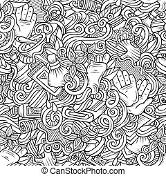 Cartoon cute doodles Spa, Massage seamless pattern - Cartoon...