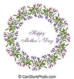 Mother day greeting card, sweet pea wreath. Vector...
