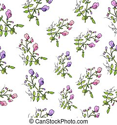 Seamless pattern with sweet pea. Vector illustration