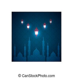 Ramadan greetings card. View of mosque in night background.