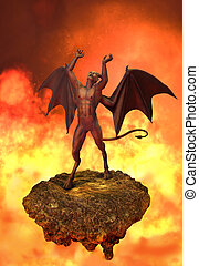 The Devil Rages in Hell - An angry devil rages in Hell - 3d...