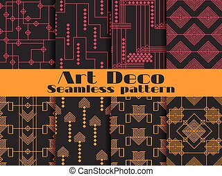 Art deco seamless patterns. Set retro backgrounds. Style...