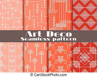 Art deco seamless pattern. Set retro backgrounds. Style...