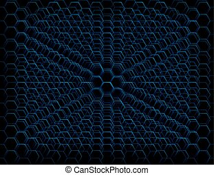 Abstract Blue Futuristic Honeycomb Cell Pattern - Abstract...