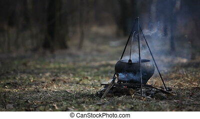Cauldron - Meat soup cooking in a cauldron on fire in forest