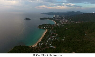 Aerial view of beautiful sunset above the sea in Thailand