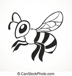 Bee flies line art isolated on a white background