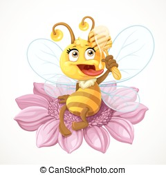 Cute bee sitting on a pink flower and eats honey with wooden dipper isolated on a white background