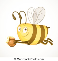 Fun cartoon bee flies with clay pot ful of honey isolated on a white background
