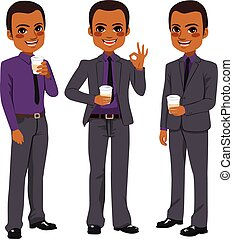 Businessman Coffee Take Away - Happy young African American...