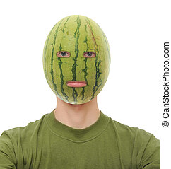 Watermelon Head - Watermelon on a man's head isolated on...