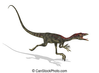 Compsognathus Dinosaur Running - 3D render of a...