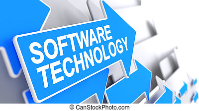 Software Technology - Inscription on Blue Pointer. 3D. -...