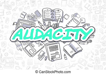 Audacity - Doodle Green Text. Business Concept. - Doodle...