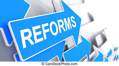 Reforms - Message on Blue Pointer. 3D. - Reforms, Message on...