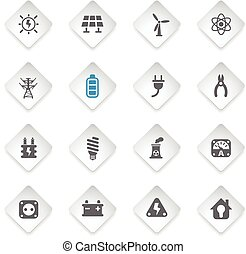 electricity icon set - electricity flat web icons for user...
