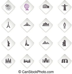travel and wonders icon set - travel and wonders flat web...