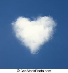 Heart shaped clouds on blue sky background.