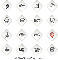 bus station icon set - bus station flat web icons for user...