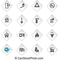 fire brigade icon set - fire brigade flat web icons for user...