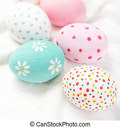 Pastel and colorful easter eggs with copyspace. Happy...