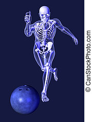 X-ray Skeleton - Bowling - 3D render depicting a transparent...