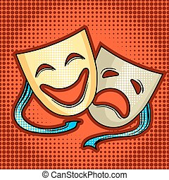 Theatrical masks comic book style vector - Theatrical masks...