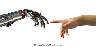 The Birth of Artificial Intelligence - Robot and human hands...