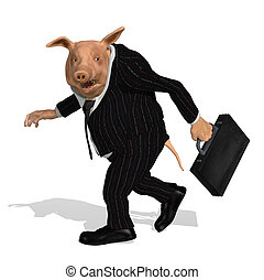 Take the Bonus and Run - A pig dressed as a greedy corporate...