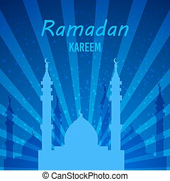 Ramadan greetings card. View of mosque in night background