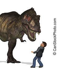 Chłopiec, spotyka, dinozaur