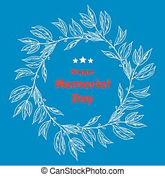 Memorial Day background with laurel. Vector illustration