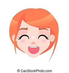 Laughing Woman with Closed Eyes and Open Mouth - Laughing...