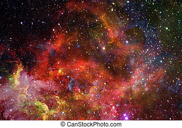 Nebula and galaxies in dark space. Elements of this image...