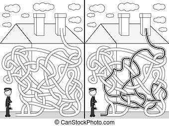 Chimney sweeper maze for kids with a solution in black and...