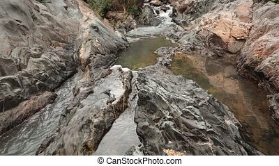 Mountain River Scene - A rocky mountain river waterfall...