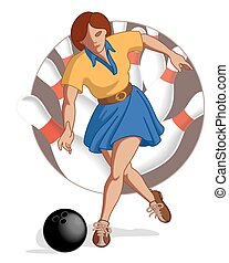 bowling player female throwing bowling ball with bowling...