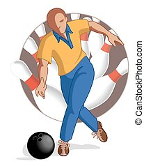 bowling player male throwing bowling ball - bowling player...