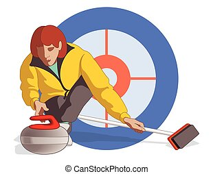 curling player female - curling player, female, pushing...