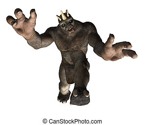 Attacking Troll - A giant troll is attacking you - 3D render