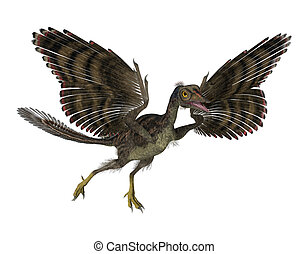 Prehistoric Bird - 3D render featuring an archaeopteryx, a...